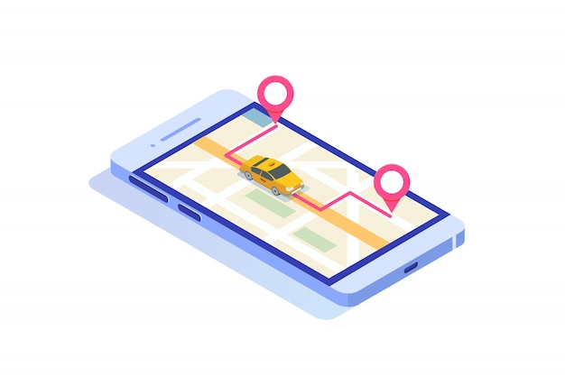 Online mobile taxi app isometric concept. gps route point and yellow cab. Premium Vector