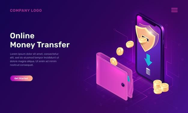 Online money transfer or cash back isometric website template Free Vector