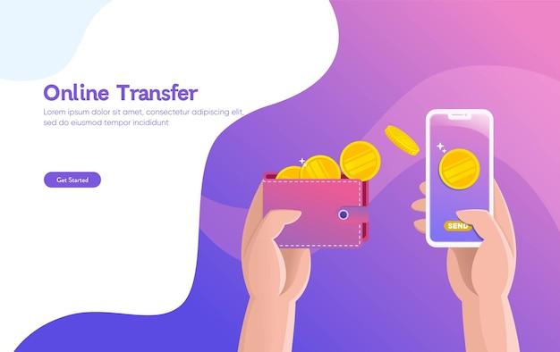 オンライン送金イラストベクトルイラストコンセプト Premiumベクター