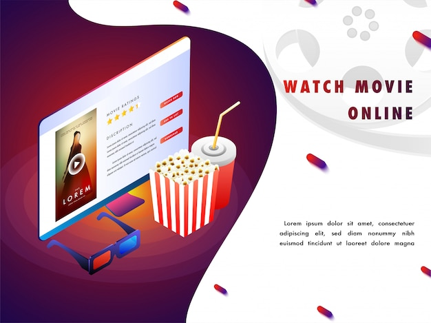 Online Movie Concept With Isomeric Set Up Vector Premium Download