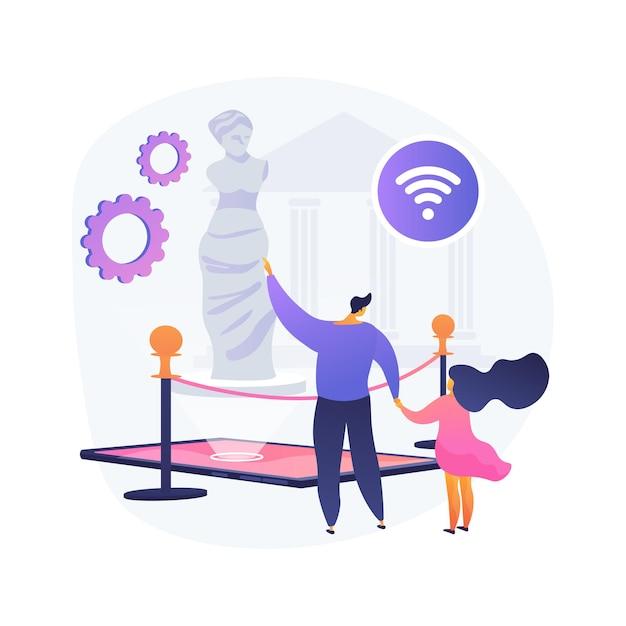 Illustrazione di vettore di concetto astratto di tour del museo online. tour virtuale gratuito della galleria, mostra online, distanza sociale, soggiorno a casa, arteterapia, tempo libero, metafora astratta dell'audioguida. Vettore gratuito