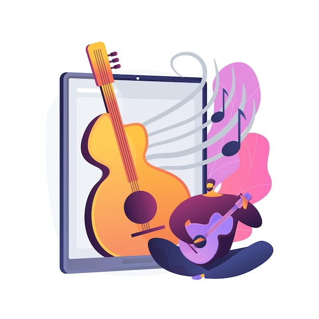 Online music lessons abstract concept   illustration. live video conferencing, music teacher, covid quarantine, online private practice, professional advice Free Vector
