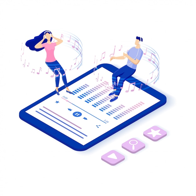 Online music and online radio. characters listening music on their smart phone. media playback using wireless cloud content. isometric  illustration. Premium Vector