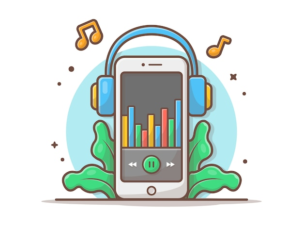Online music player with headphone and tune and note of music vector icon illustration. mobile music. technology and music icon concept white isolated Premium Vector