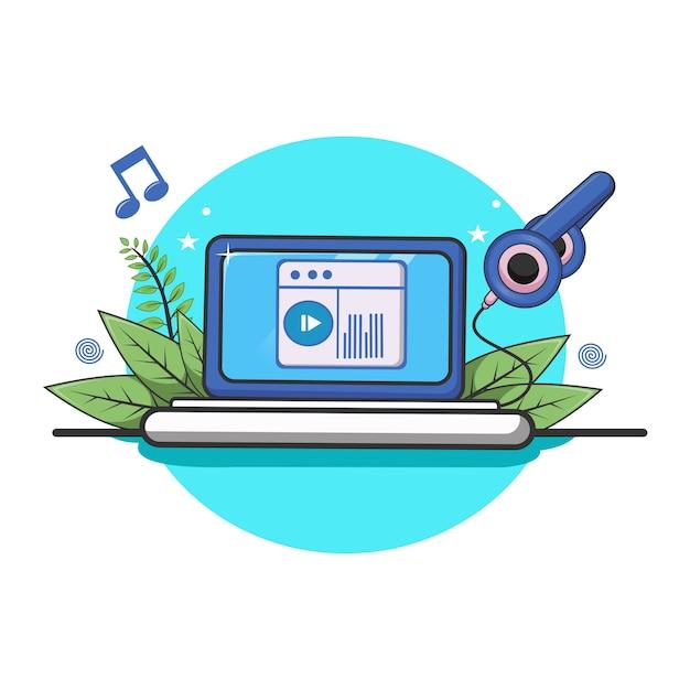 Онлайн аудиоплейер с компьтер-книжкой и настройкой и примечанием иллюстрации значка музыки. Premium векторы