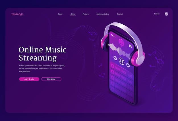 온라인 음악 스트리밍 서비스 아이소 메트릭 방문 페이지 무료 벡터