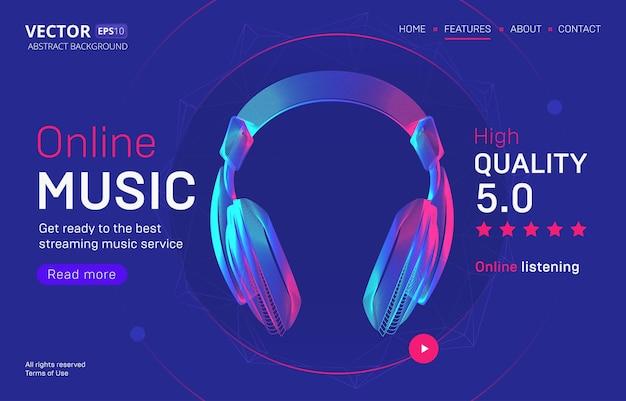 Шаблон целевой страницы сервиса онлайн-трансляции музыки с рейтингом высокого качества. аннотация изложил иллюстрацию силуэта беспроводных наушников в стиле неоновой линии Premium векторы