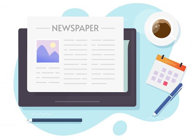 태블릿의 온라인 뉴스 프리미엄 벡터