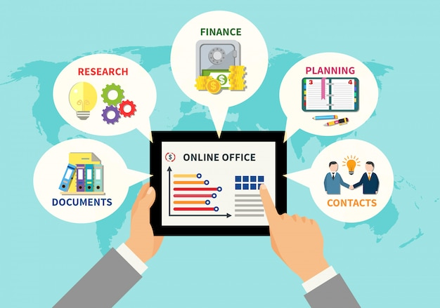 Online office design concept Free Vector