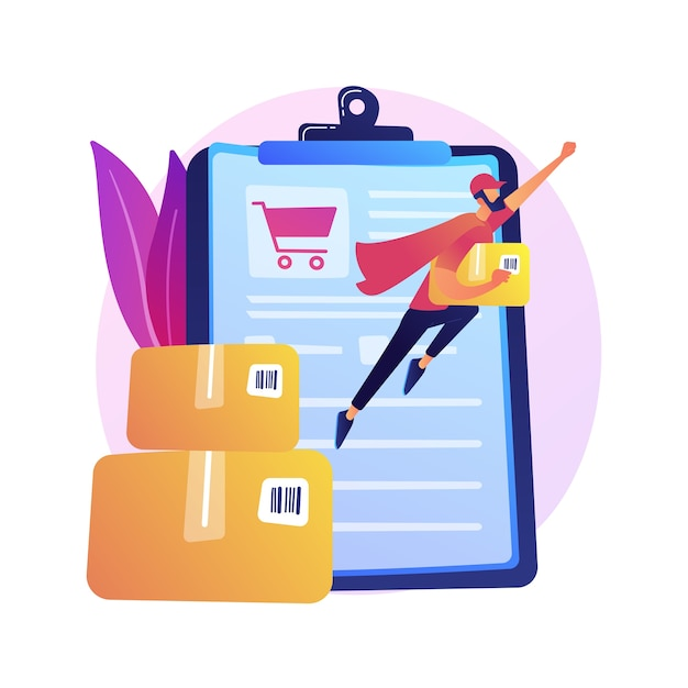 Online order delivery service, shipment. internet shop basket, cardboard boxes, buyer with laptop. delivery note on monitor screen and parcel . Free Vector