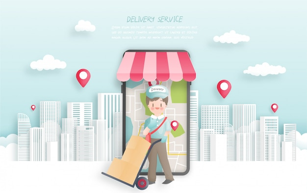 Online order and delivery with delivery boy, paper cut style.  illustration. Premium Vector
