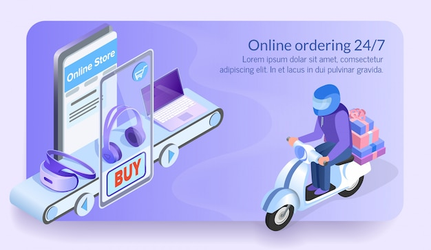 Online ordering 24/7 courier of electronic store. Premium Vector