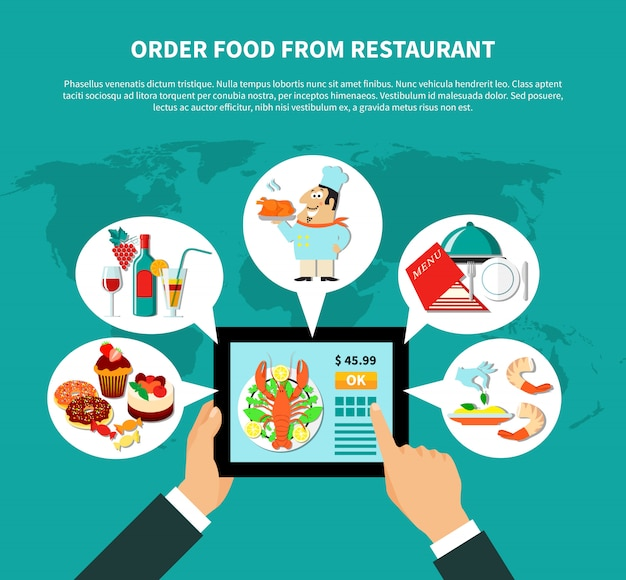 Online ordering food concept Free Vector