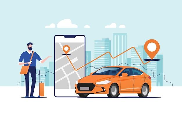 タクシーカーのオンライン注文、サービスモバイルアプリケーションを使用したレンタルと共有。 Premiumベクター