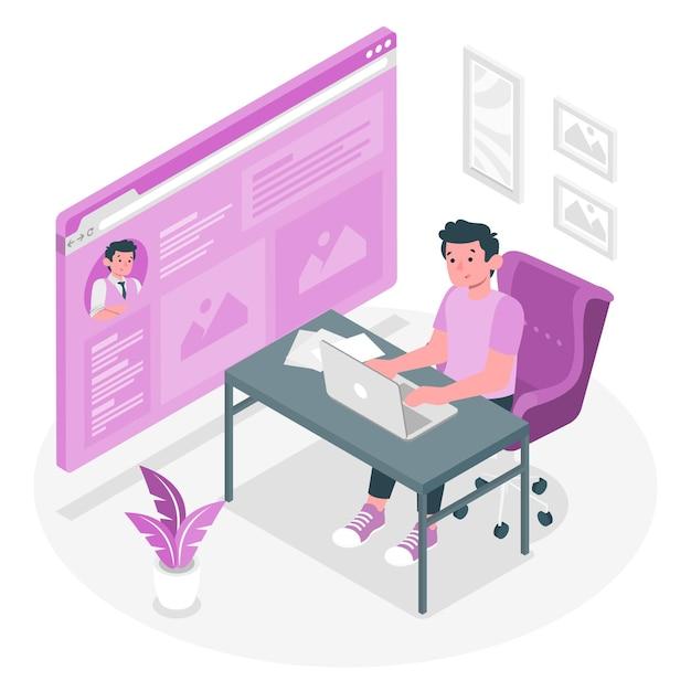 Иллюстрация концепции онлайн-страницы Бесплатные векторы