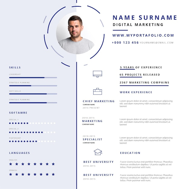 Online paperwork curriculum vitae template Free Vector