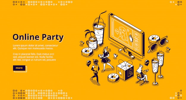 Online party isometric landing page, celebration Free Vector