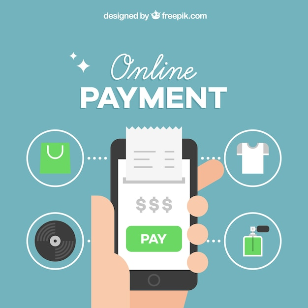 Online payment background Free Vector