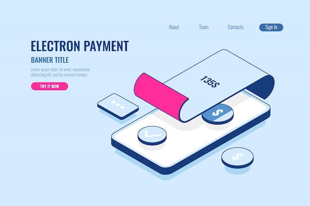 Online payment, banner title Free Vector