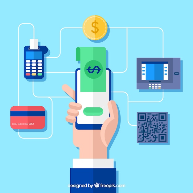 Online payment concept, mobile phone Free Vector