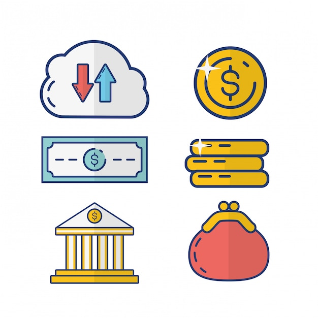 Online payment element collection Free Vector