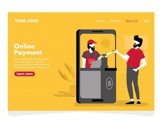 Online payment illustration for landing page Premium Vector