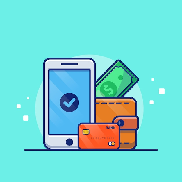 Online payment  illustration. mobile phone with debit card and wallet. technology   concept isolated Premium Vector