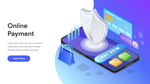 Online payment isometric concept for landing page, homepage, website Premium Vector