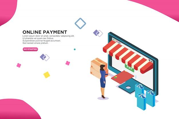 Online payment isometric design concept Premium Vector