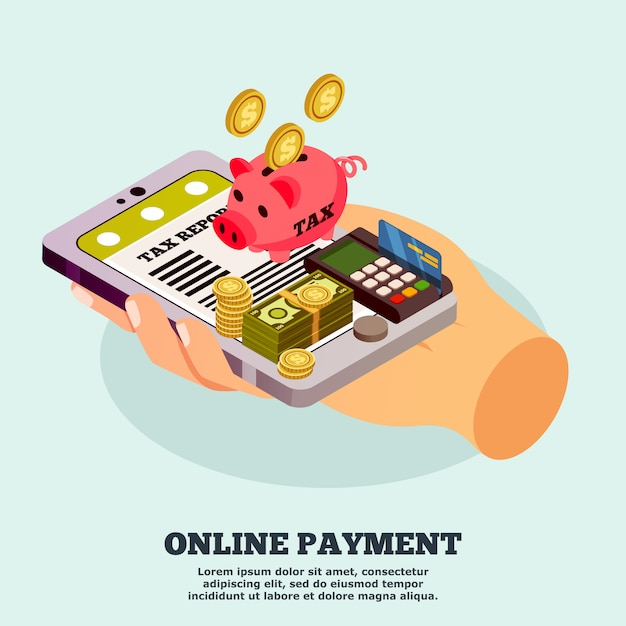 Online payment isometric template Free Vector