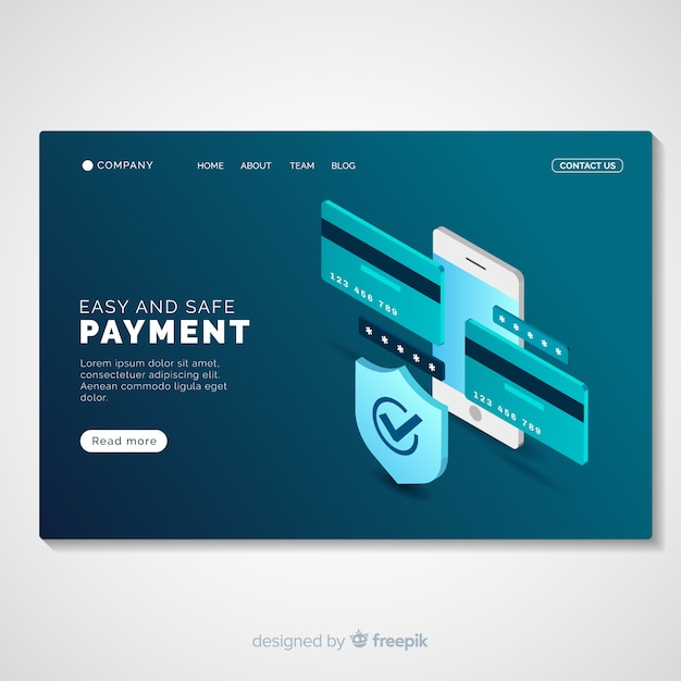 Online payment landing page template Free Vector