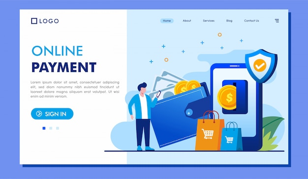 Online payment landing page website illustration vector design Premium Vector