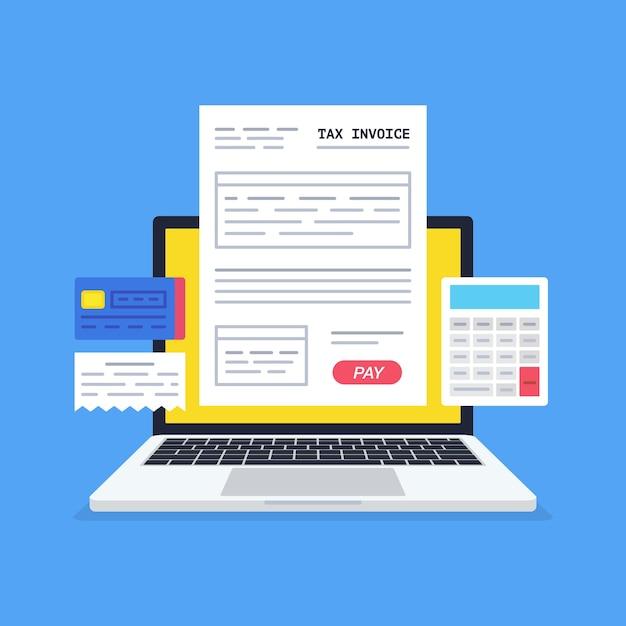 온라인 결제 서비스입니다. 지불 버튼이있는 노트북 화면의 세금 양식. 인터넷 뱅킹 개념. 온라인 지불, 부기, 회계. 프리미엄 벡터