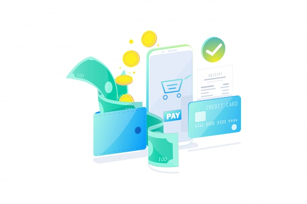Online payment technology concept, cashless society, safety payment. bills, coins and credit card pay online with smartphone flat design,   illustration. Premium Vector