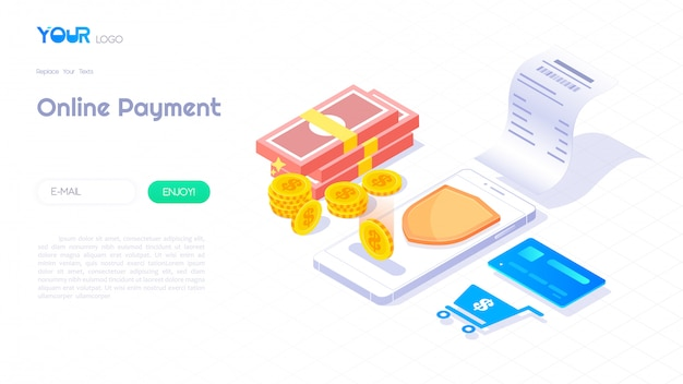 Online payment through smartphone isometric concept, billing illustration web banner, secure payment technology vector. Premium Vector