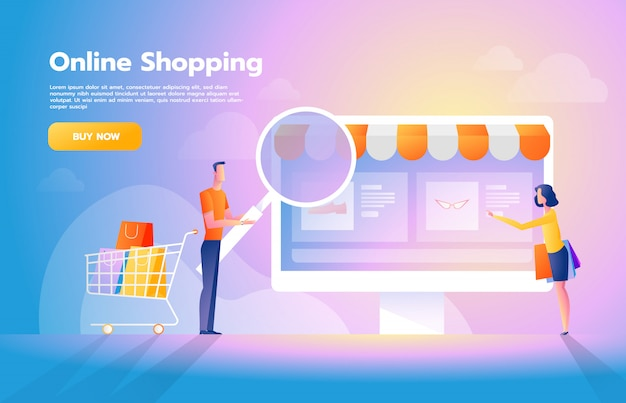 Online payment using application concept with couple shopping on smartphone. purchases on internet. commerce advertising illustration. Premium Vector