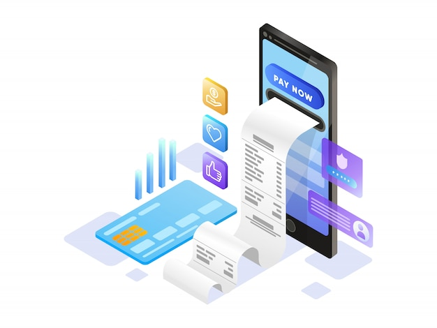 Online payment  with mobile phone isometric Premium Vector