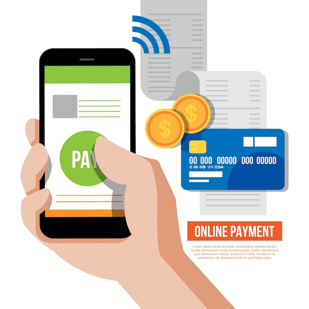 Online payment with smartphone Free Vector