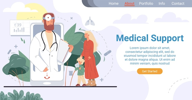 Целевая страница медицинской поддержки педиатра в интернете. услуги семейного врача. мать показывает больному ребенку, страдающему от насморка, специалисту на экране мобильного телефона. телемедицина для детей Premium векторы