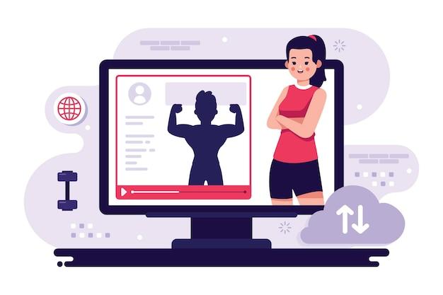Personal trainer online sul computer Vettore gratuito