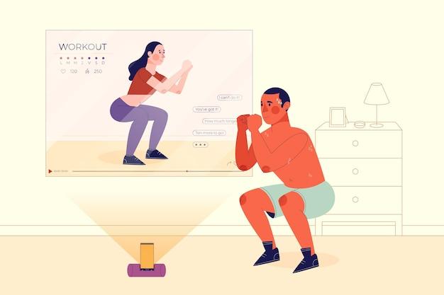 Online personal trainer concept Premium Vector