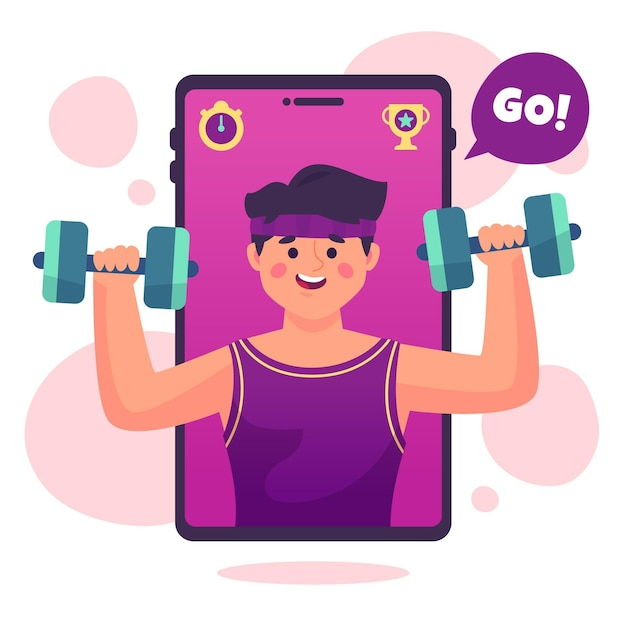 Online personal trainer concept Free Vector
