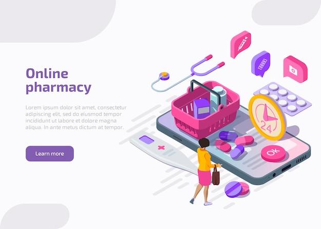 Banner di farmacia online. servizio di farmacia mobile. Vettore gratuito