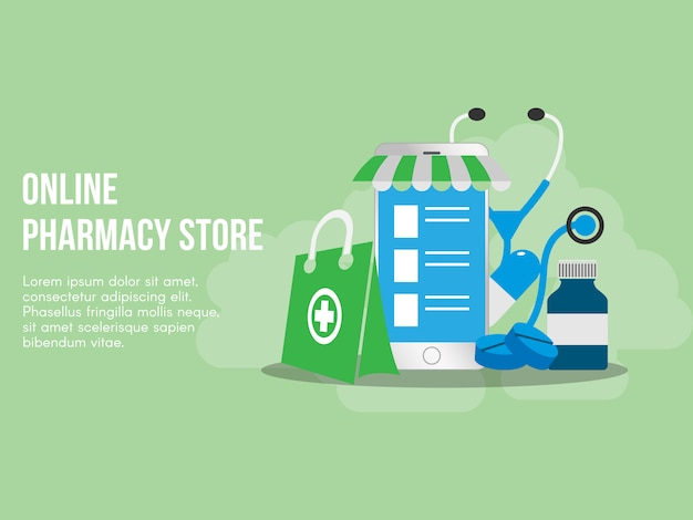 Online pharmacy concept illustration vector design template Premium Vector