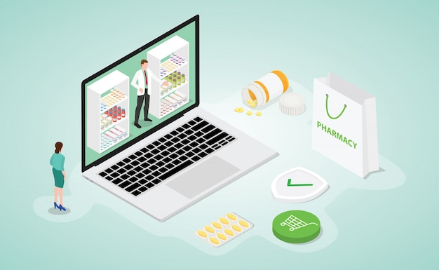 Интернет-аптека аптека с современным изометрическим плоским стилем | Премиум векторы