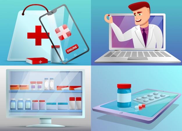 Online pharmacy illustration set on cartoon style Premium Vector