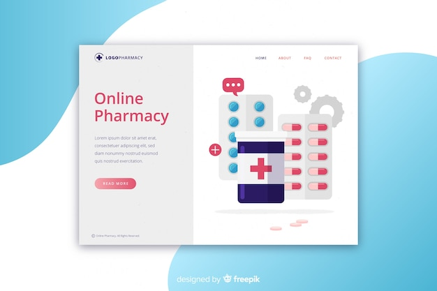 Online pharmacy landing page template Free Vector