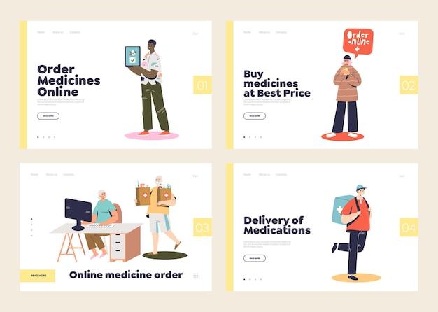 Концепция интернет-аптеки с набором целевых страниц с людьми, покупающими лекарства в интернете, и мальчик-курьер, доставляющий лекарства на дом Premium векторы