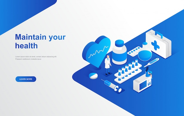 Online pharmacy store, hospital isometric landing page web template Premium Vector