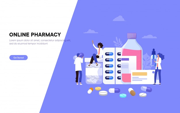 Online pharmacy store,  illustration , pharmacist give advice and conceling medication to costumer,  landing page, template, ui, web, mobile app, poster, banner, flyer Premium Vector
